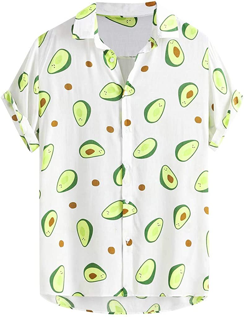 ASOBIMONO Mens Hipster Short Sleeve Button Down Tops Summer Cooling Hawaiian Shirts with Pockets