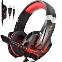 INSMART PS4 Headset, PC Gaming Headset Over-Ear Gaming Headphones with Mic LED Light Noise Cancelling & Volume Control for Laptop Mac Nintendo Switch New Xbox One PS4 (3.5mm Splitter Cable Included)