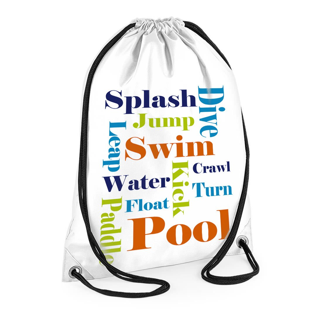 tigerlilyprints Swimming bag,Boys Swim Bag,Boys Text Bag, White Sports Bag,Kids Sports Bag