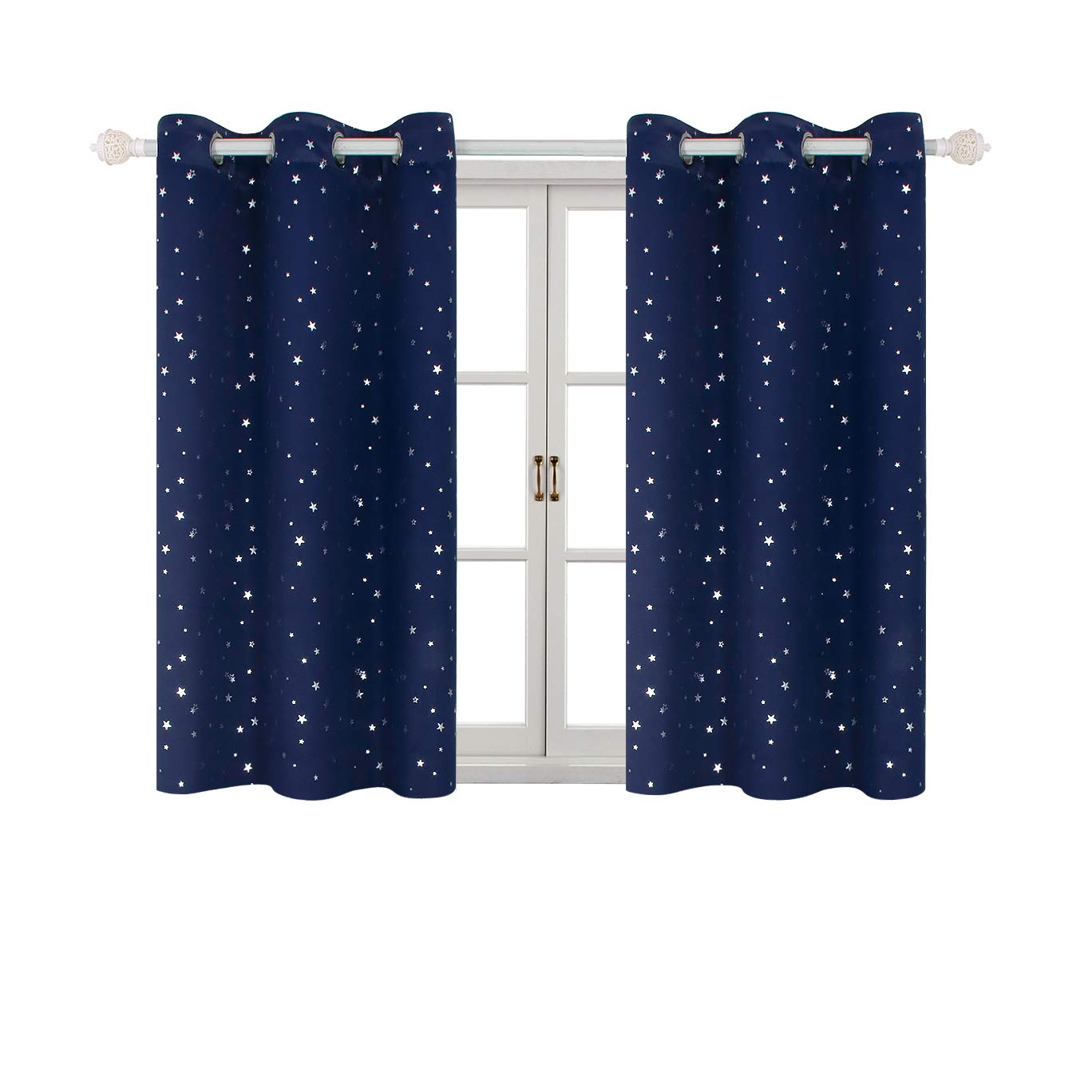 BGment Twinkle Star Printed Blackout Curtains for Kids Bedroom - Night Sky Space Thermal Insulated Room Darkening Curtains for Children Nursery, Grommet, 2 Panels (42 x 63 Inch, Beige)