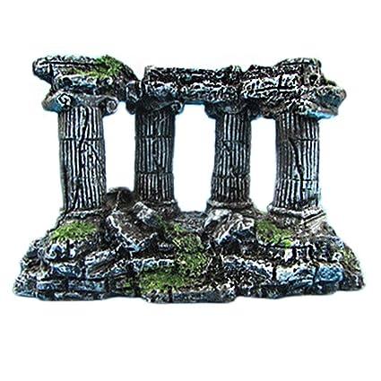 Haodou 1 Piezas Acuario Paisajismo Acuario Romano Ornamento Cuadrado Columna Romana Barril Resina Pescado Cueva Decoración