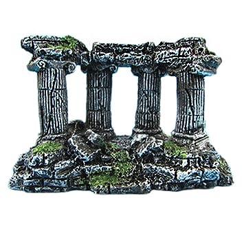 Haodou 1 Piezas Acuario Paisajismo Acuario Romano Ornamento Cuadrado Columna Romana Barril Resina Pescado Cueva Decoración Size 15 * 5 * 14cm: Amazon.es: ...