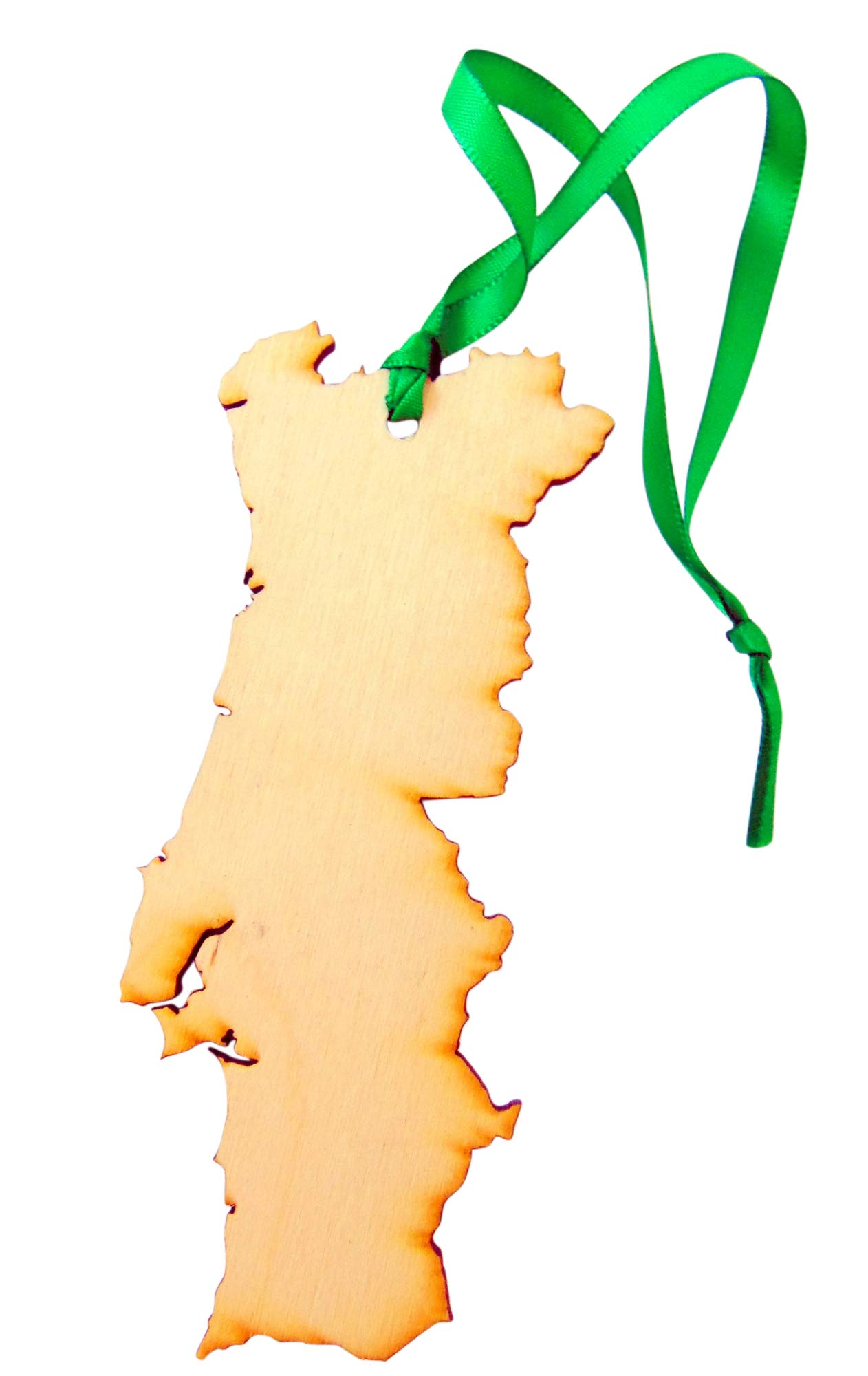 Portugal Christmas Wood Ornament Boxed Portuguese Map Wooden Decoration Handmade in The USA