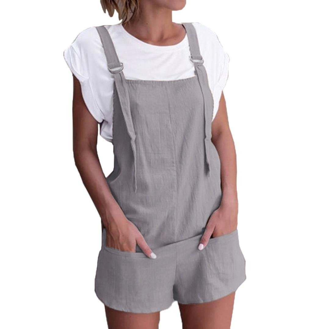 Womens Pockets Rompers Playsuits Elastic Waist Dungarees Linen Cotton Shorts