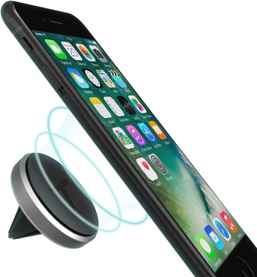 Trianium Aluminum Magnetic Air Vent Car Phone Mount Compatible with iPhone Xs Max XR iPhone X 8 7 6s 6 Plus SE Note 9,LG G7 thinQ,G6 G5,Pixel,Nexus 6P 6X,Pixel 2 XL-Space Grey Galaxy S9 S8 S7 Edge