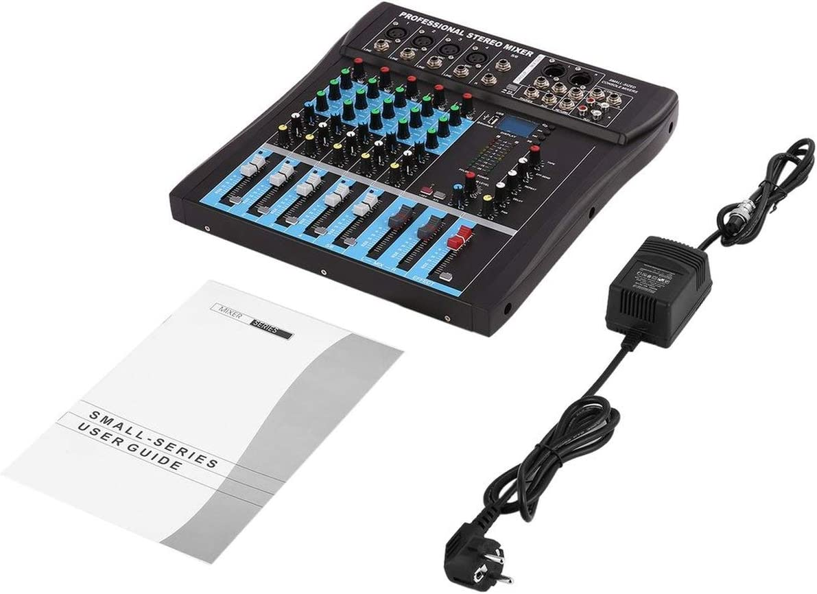 CT6 Mezclador estéreo Profesional de 6 Canales Consola de Audio en Vivo Consola de Efectos vocales con Entrada estéreo 4-CH Mono y 2-CH