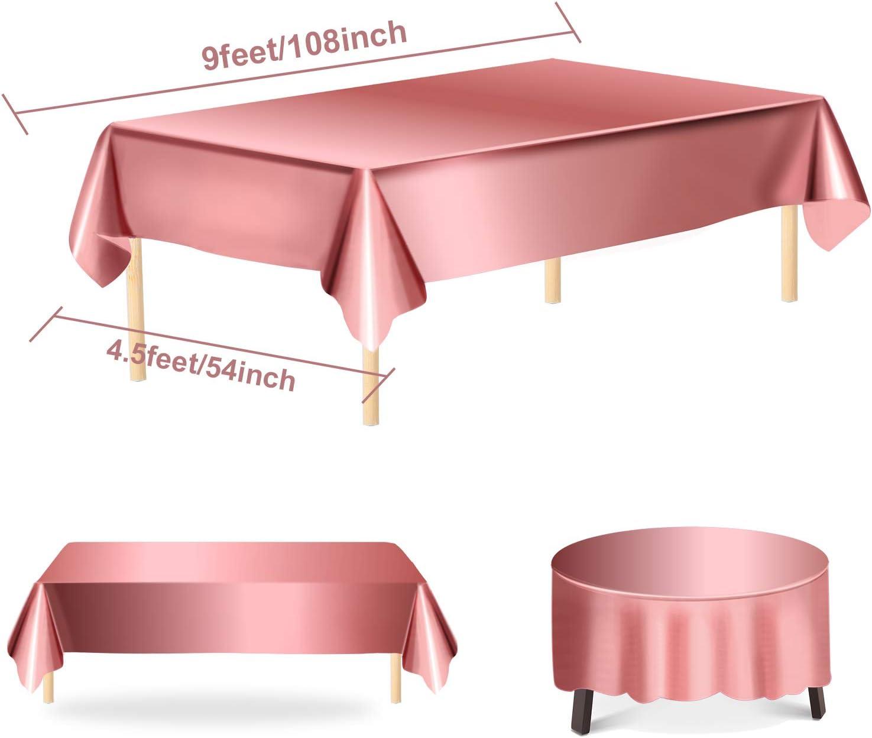 color dorado rosa Mantel de pl/ástico brillante de 40 x 108 pulgadas Aneco