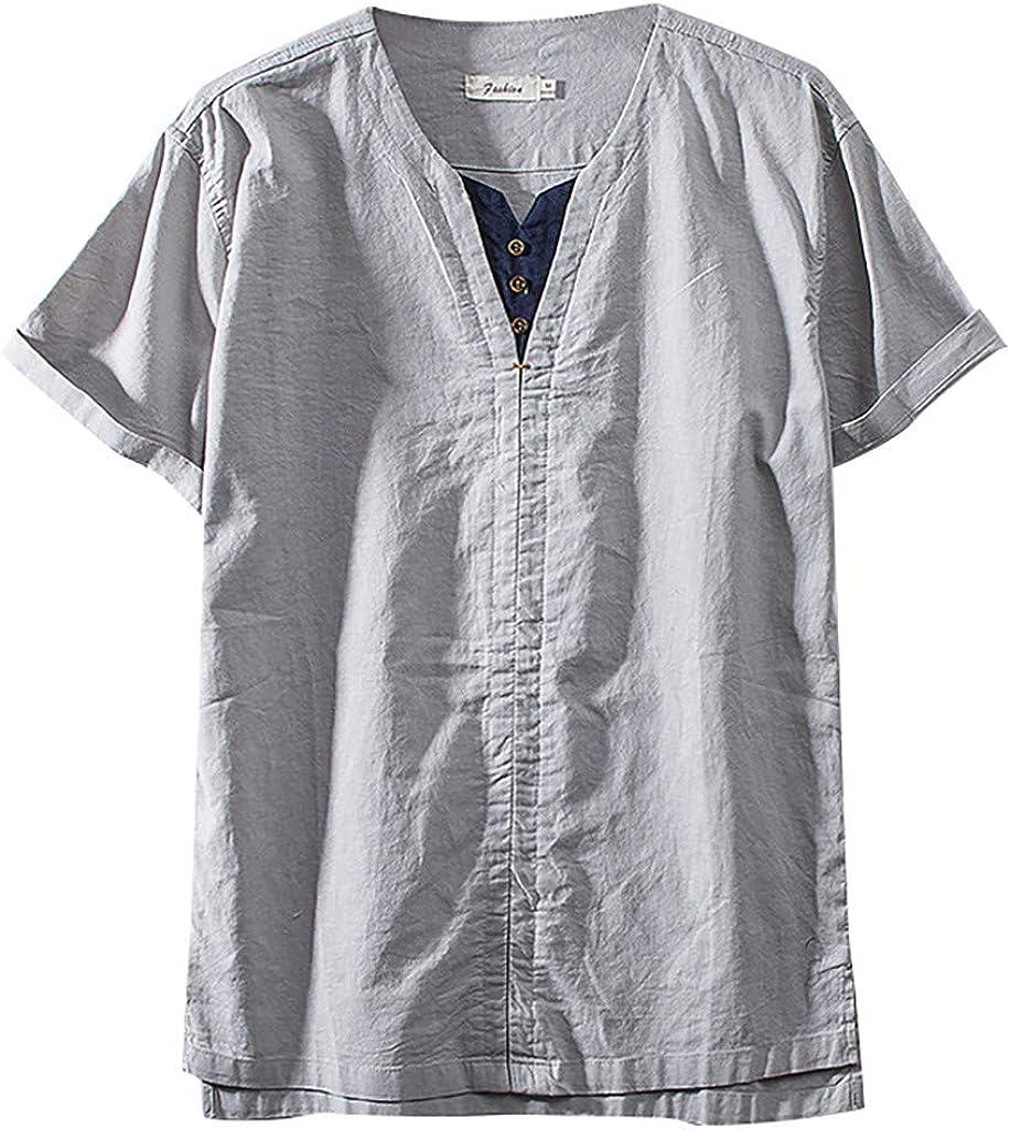 Sylar Camiseta de Algodón y Lino para Hombre Verano Camiseta Manga Corta con Cuello en V Estilo Chino Camiseta T-Shirt Blusas Originales con Botón Tops de Verano