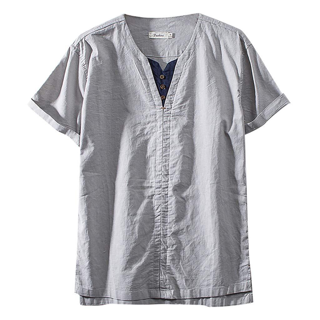 Yajiemen Fashion Mens Cotton Linen Solid Color Short Sleeve Breath T Shirts Tops Blouse