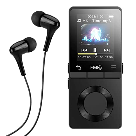 AGPTEK Metal MP3 Player with Loud Speaker, 8GB Lossless Music Player  Supports FM Radio Recording with HD Headphones, Expandable Up to 128GB,  Black(M6)