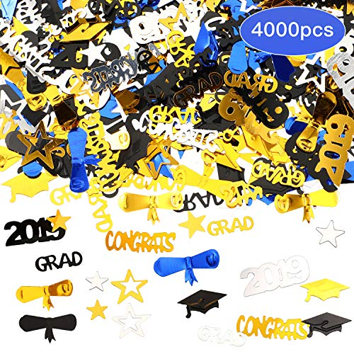 4.3 oz Graduation Confetti Table Confetti 2019 Grad Star Shaped Confetti for Party Supplies, About 4000 Pieces Totally ()