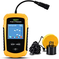Lixada Buscador de Peces Sonar Portátil LCD Pantalla Color/Gris 100M/328ft Sonda de Detección para Pesca en el Mar y…