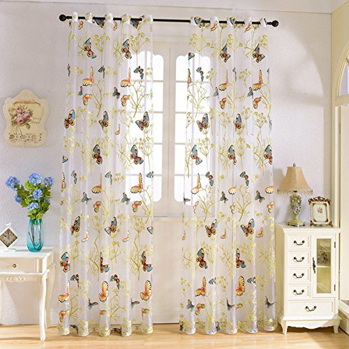 2 Pieces Sheer Curtains,Solid Voile Window Treatment Drapes Grommet Curtain Panel for Nursery Room Bedroom Living Room Office (52×84 Inch, Willow& Butterfly) For Sale