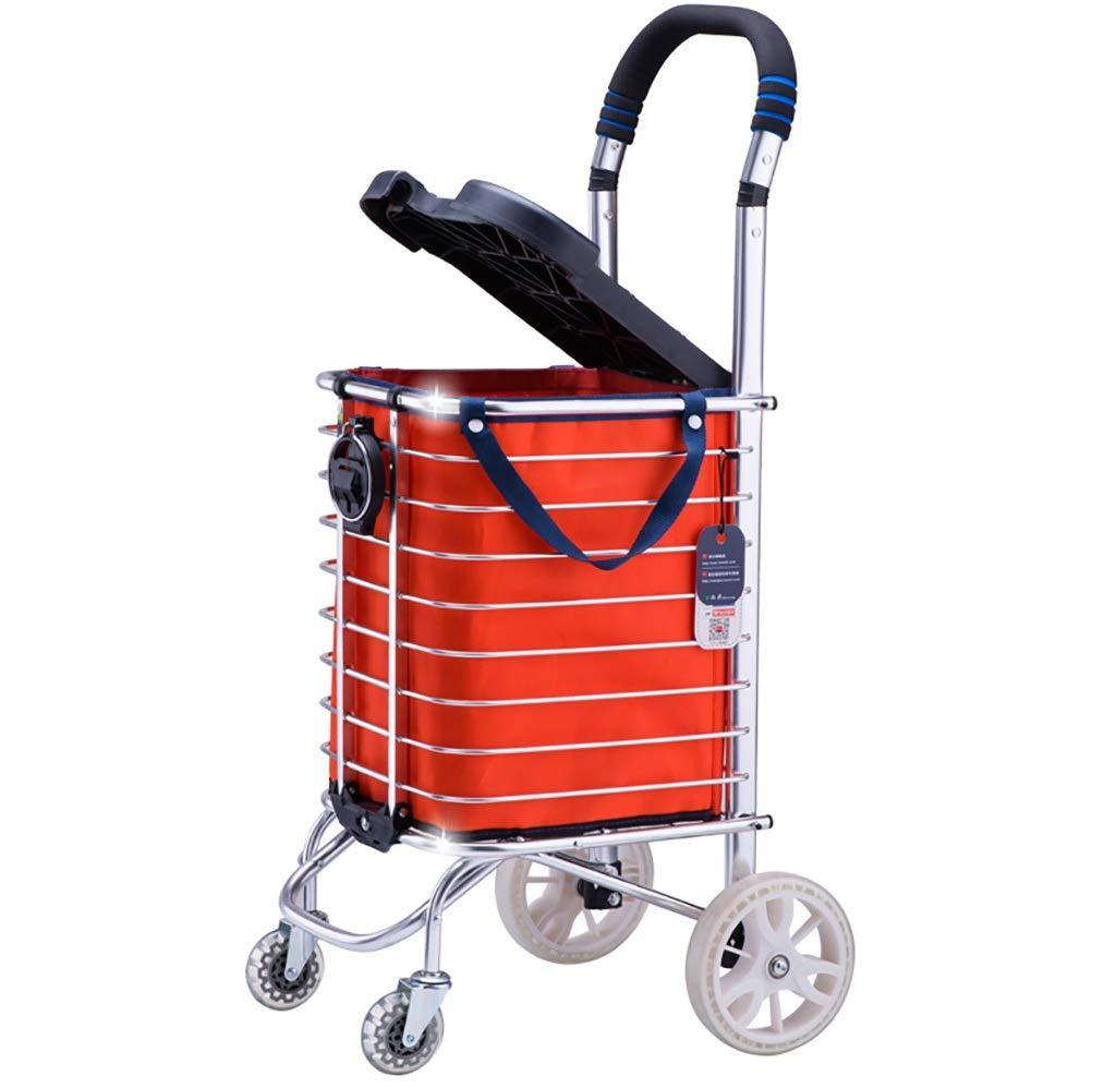 ショッピングカート 折りたたみショッピングカートローリング食料品カート、回転ホイール付き、防水バッグ、パッド入りハンドル、便利な収納のためのアルミフレーム、シルバー (Style : B) B07SN17JW5  B