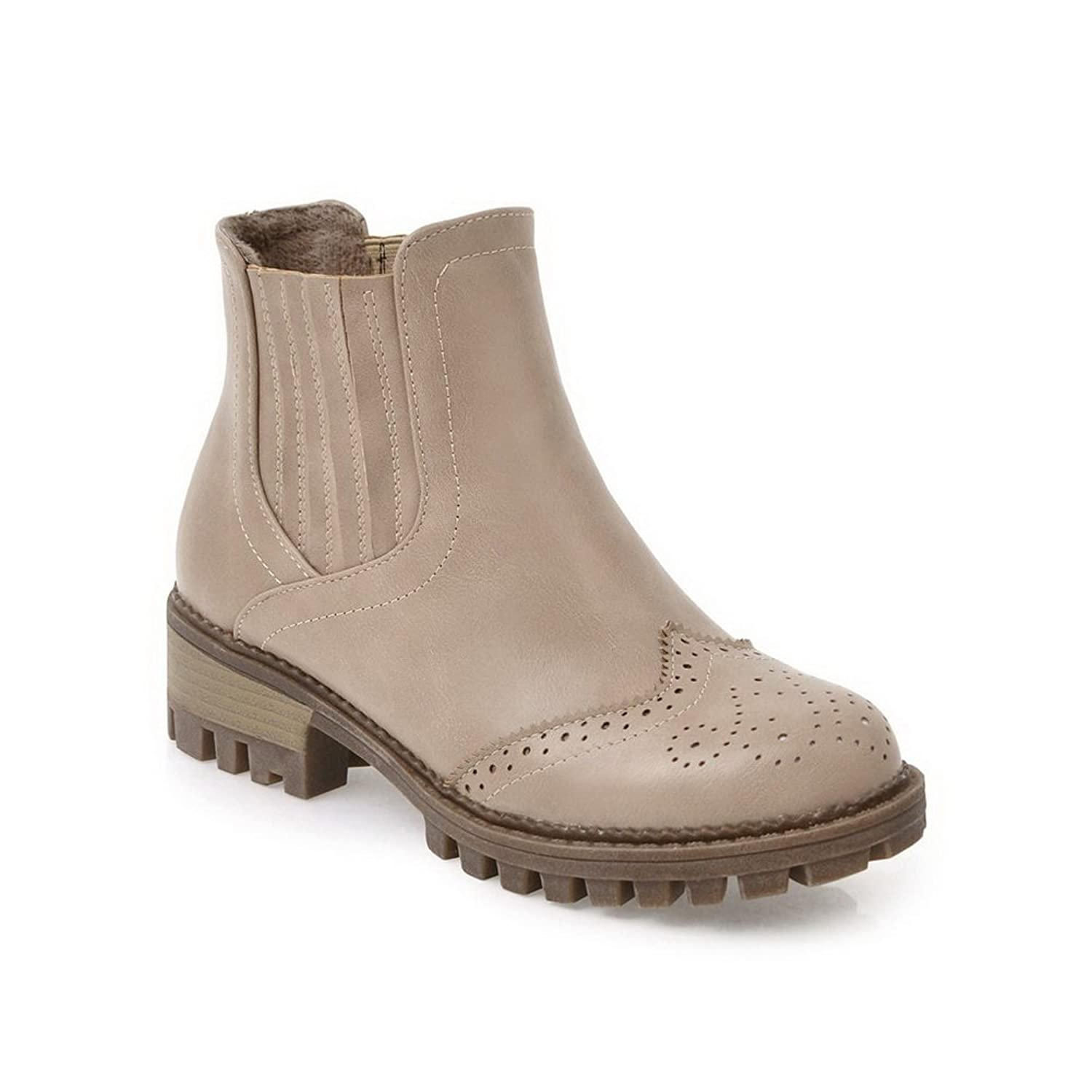 4f598cf9a5db 1TO9 Womens Boots Closed-Toe No-Closure Low-Heel Warm Lining  Water Resistant Assorted Color Pointed-Toe Smooth Leather Urethane Boots  MNS02483