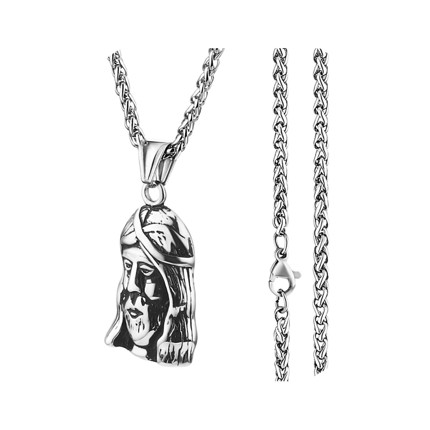 Petite-Bub-Scarlet Male Stainless Steel Link Chain Round Circle Cross Pendant Necklace for Men Silver Color Statement Necklaces