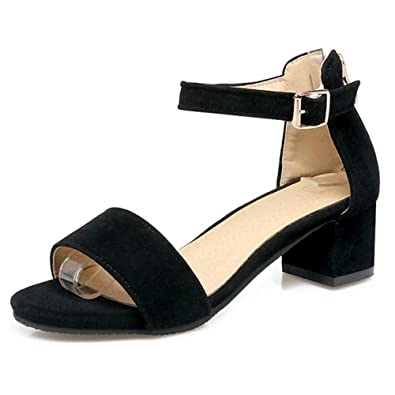 e874c419b46 SJJH Suede Materail Sandals with Low Chunky Heel and Large Size 12 UK  Available All Match