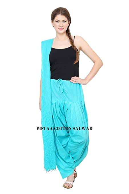 Pistaas Full cotton Patiala Salwar With Dupatta Dress Material at amazon