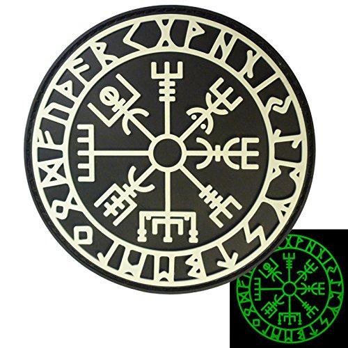 LEGEEON Glow Dark Vegvisir Viking Compass Norse Rune Morale Tactical PVC Rubber 3D Hook Loop Patch