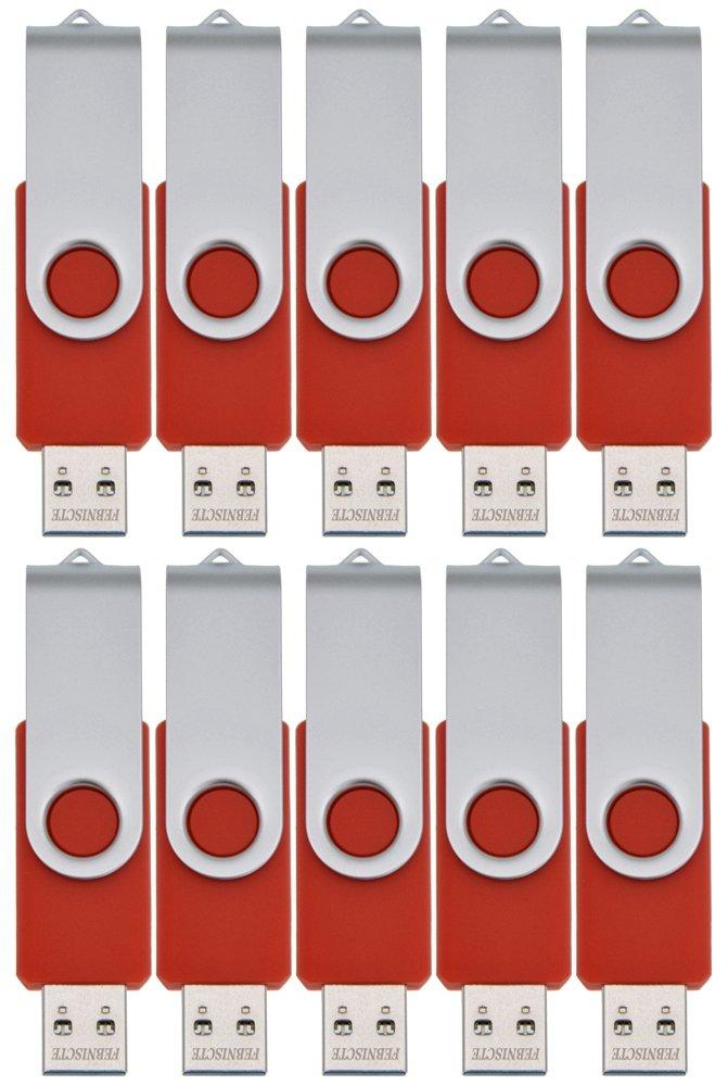 FEBNISCTE USB 2.0 Swivel Flash Drive Memory Stick Pendrive , 16GB, Red, Pack of 10 by FEBNISCTE