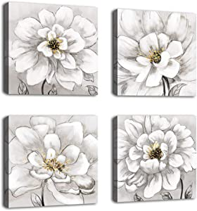 """Flowers Wall Art Bathroom Wall Decor Abstract Botanical Picture Contemporary Wall Art Prints Bedroom Living Room Kitchen Office Home Decor Modern White Flower Canvas Artwork 12"""" x 12"""" x 4 Pieces"""