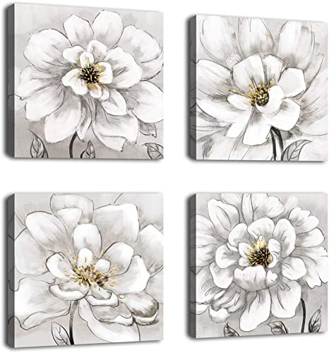 Amazon Com Flowers Wall Art Bathroom Wall Decor Abstract Botanical Picture Contemporary Wall Art Prints Bedroom Living Room Kitchen Office Home Decor Modern White Flower Canvas Artwork 12 X 12 X 4 Pieces