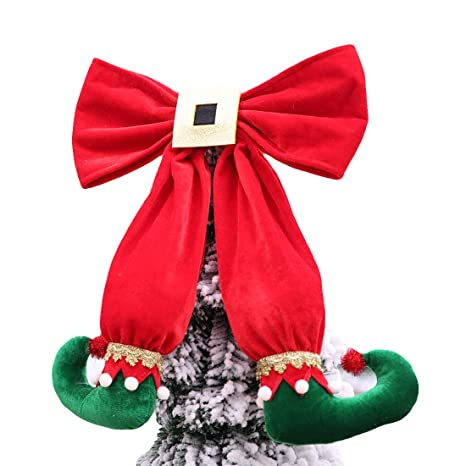 Large Christmas Ornaments.Amazon Com Cshopping Christmas Elf Boots Tree Topper Large