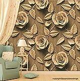Paper Plane Design Premium Self Adhesive Sticker Wallpaper. Theme - 3D Golden Brown Roses (57 sq ft)