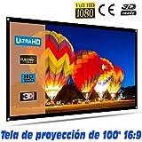 """Tela de proyección Lux-Screen Formato 100"""" 16:9 (2,12cm x 1,28cm) Superficie de 3 Capas Blanco Mate y Borde perimetal…"""