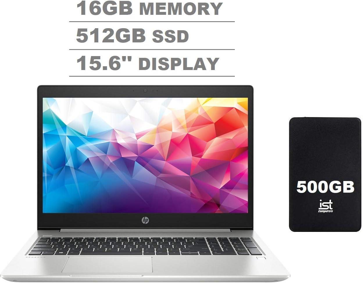 """2020 HP Probook 450 G6 15.6"""" HD Anti-Glare Business Laptop (Intel Quad-Core i5-8265U, 16GB DDR4 Memory, 512GB SSD) Type-C, HDMI 1.4b, RJ-45, Windows 10 Pro 64-bit + IST 500GB Portable Hard Drive"""