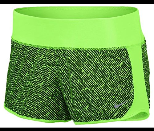 Nike Womens Dri-FIT Crew Printed Shorts (X-Large, Voltage Green/Voltage Green/Reflective Silver)