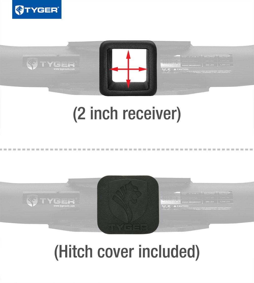 Tyger Auto TG-HC3D0038 Class 3 Trailer Hitch Combo W// 2 Receiver Cover /& Pin Lock for 08-18 Dodge Grand Caravan 08-16 Town /& Country //08-12 VW Routan//10-18 Ram w Stow-n-Go