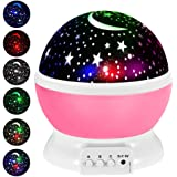 THEMART Kids Star Night Light, 360-Degree Rotating Star Projector, Desk Lamp 4 LEDs 8 Colors Changing with USB Cable…