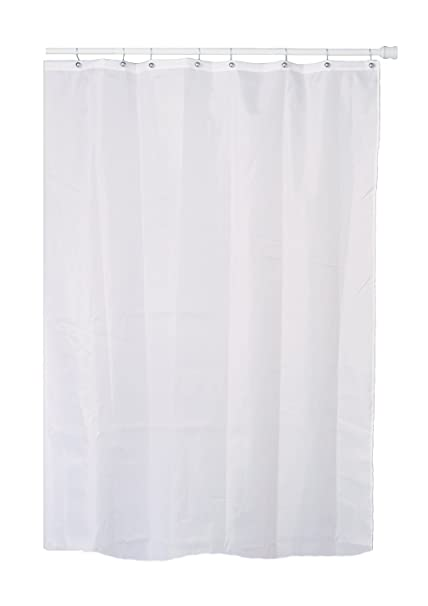 Extra Long / Tall White Fabric (Polyester / Nylon) Shower Curtain With  Metal Grommets