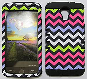 SHOCKPROOF HYBRID CELL PHONE COVER PROTECTOR FACEPLATE HARD CASE AND BLACK SKIN WITH STYLUS PEN. KOOL KASE ROCKER FOR LG VOLT LS740 CHEVRON BK-TE604 by runtopwell