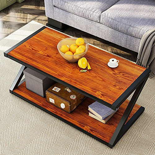 Coffee Table, LITTLE TREE 48'' Industrial Living Room Center Table with Open Storage Shelf, Cherry -