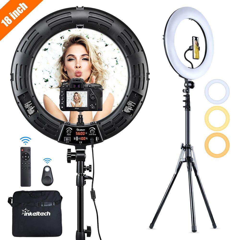 Inkeltech Ring Light - 18 inch 2700K-5600K Dimmable Bi-Color Light Ring, 60W LED Ring Light with Stand, Lighting Kit for Vlog, Selfie, Makeup, YouTube, Camera, Phone - LCD Screen & Remote Control by INKELTECH
