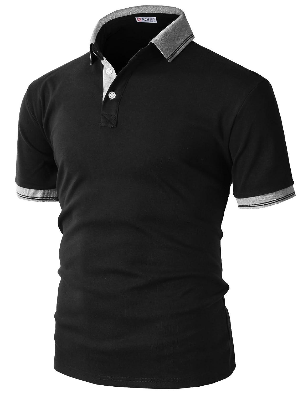 【H2H】 メンズ カジュアル ゴルフウェアー ファッション ベーシック 無地 スリームフィット ワンポイント 半袖 ポロシャツ B07CHBVQFB X-Large|Kmtts0560-black Kmtts0560-black X-Large