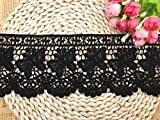 vintage clothing patterns - 11CM Width Europe Butterfly pattern Inelastic Embroidery Lace Trim,Curtain Tablecloth Slipcover Bridal DIY Clothing/Accessories.(4 yards in one package) (Black)