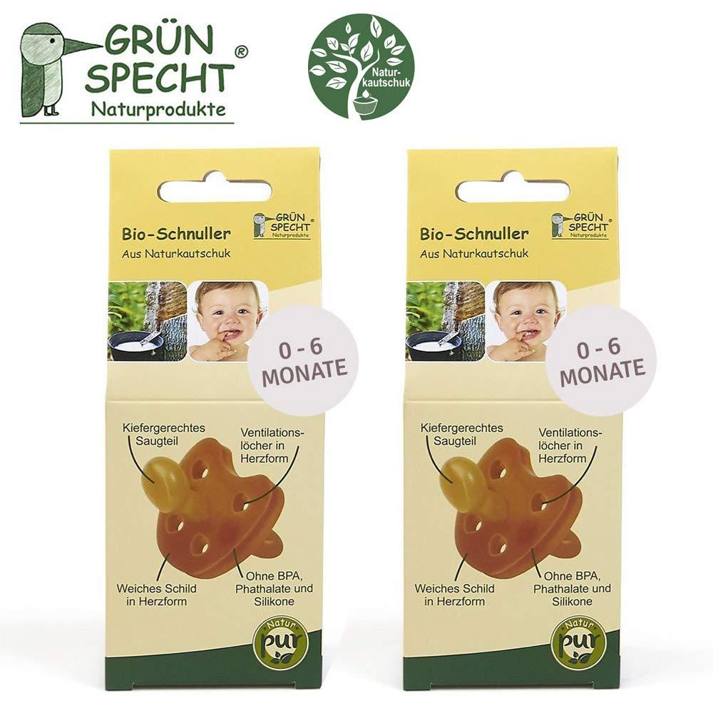 Gruenspecht - Chupete orgánico de caucho natural, 0 – 6 meses, 2 unidades, escudo suave en forma de corazón, forma ortopédica de pino