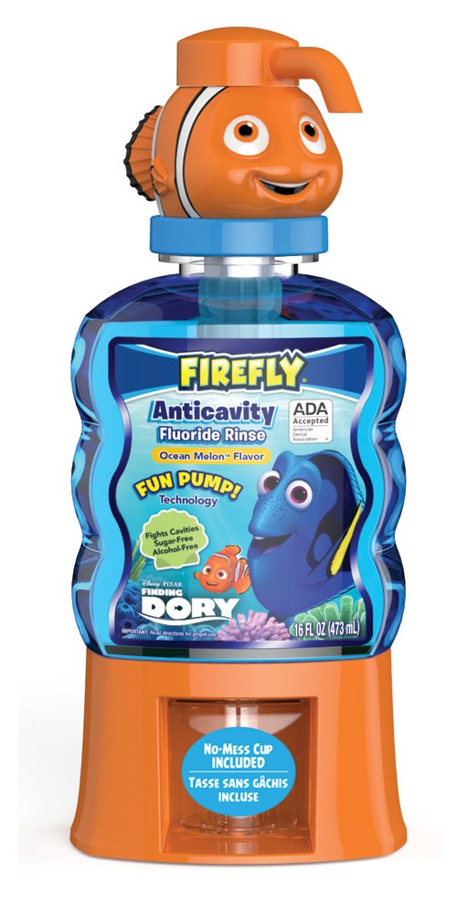 Firefly Finding Dory Fun Pump Anti-Cavity Mouth Rinse, 16 Ounces, (Pack of 4)
