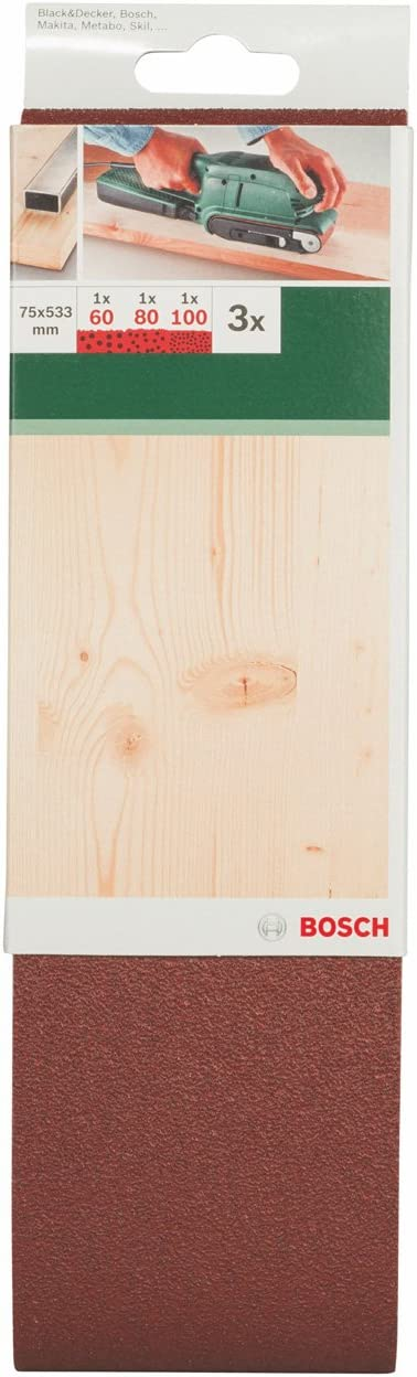 calidad roja Juego de hojas de lija de 3 piezas para lijadora de banda pack de 3 Bosch 2 609 256 218