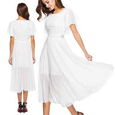 Ilovgirl Ladies Dresses With High Waist Flare Sleeve White Party
