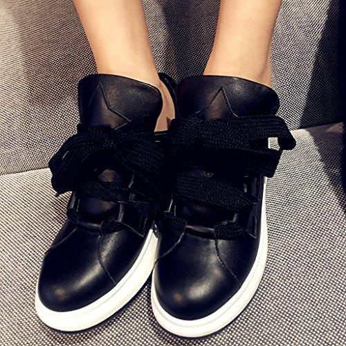 Mode De Noire Femmes De Chaussures De Des Cuir De En Sport Formateurs Plate Chaussures forme La Roseg Casual De xqgZI0HwZ