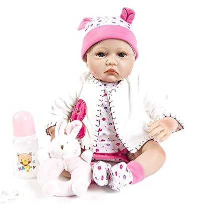 c9018da2b Image Unavailable. Image not available for. Color  SanyDoll Reborn Baby  Doll Soft Silicone 22inch 55cm Magnetic Lovely Lifelike Cute ...
