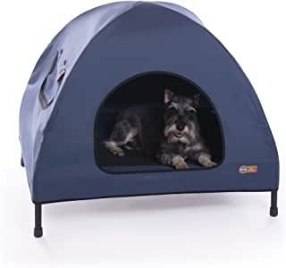 "K&H Pet Products Original Pet Cot House Medium Navy Blue - Indoor & Outdoor Elevated Pet Bed & Shelter (25"" x 32"" x 28"")"