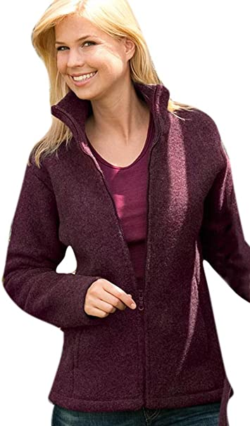 Damen Fleece Jacke, 100% Schurwolle, Engel Natur, Gr. M (42