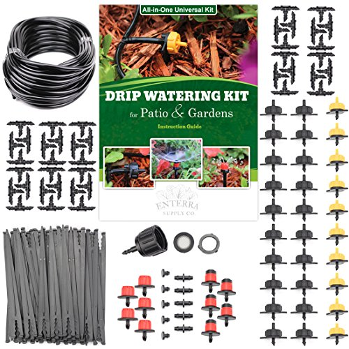 Enterra Supply Drip Irrigation Kit Blank Distribution Tubing & 40 Emitters - 70ft