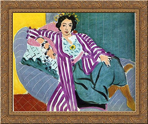 Small Odalisque in Purple Robe 20x20 Gold Ornate Wood Framed Canvas Art by Matisse, Henri