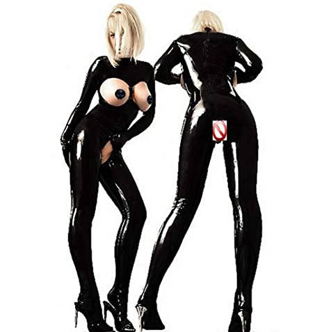 SHANGLY Sexy Negro Mujer Latex Catsuit Busto Abierto Cuero ...
